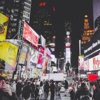 Advertisments litter a New York street.