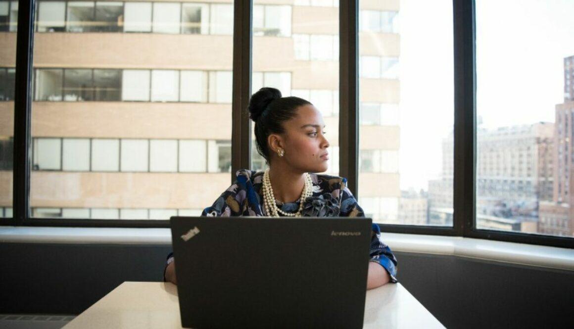 A woman runs an online business