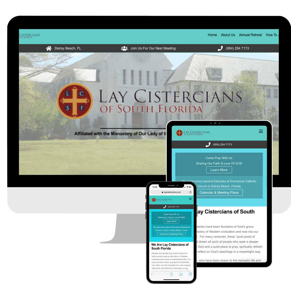 LayCistercians.com website design by Correct Digital